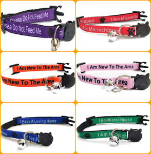 Kitten Collar with Bell - Please Don't Feed Me   Safety Release Breakaway Buckle