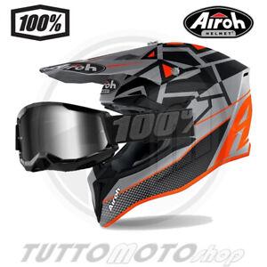Rete Elastica Moto Casco Motocross Guanti Casco da Cross Kit con Occhiali Casco da Moto Bambino Caschi Moto Offroad Enduro Downhill Sport MRDEAR Squalo Arancione Face Mask