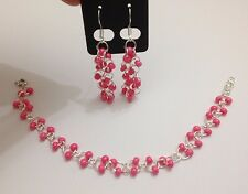 Coral pink Cz Glass seed bead chainmaille bracelet earrings set sterling silver