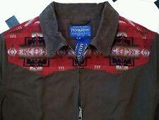 NeW PENDLETON BROWN ZIP JACKET M w WOOL INDIAN BLANKET YOKE & CORD COLLAR shirt