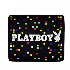 Playboy Bunny Black Rainbow Polar Fleece Sofa Lounge Throw Blanket Rug