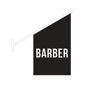 Black Barber Flag Kit - Wall Mounted Barber Hair Salon Sign Banner - Ship Today!