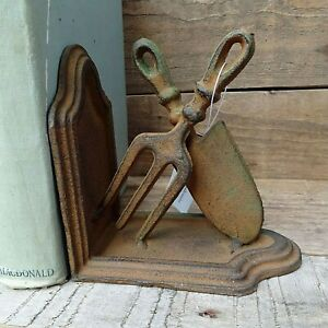 Pair of Garden Tool Bookends - Heavy Cast Iron with a Rustic Aged Finish