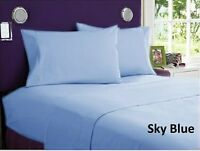 1000tc Egyptian Cotton Home Bedding Collection Select Size Sky Blue Solid
