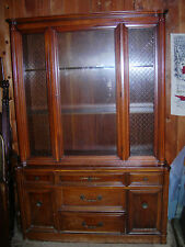 SHERRILL FURNITURE CO. 2 SECTION GLASS DOOR HUTCH/ CUPBOARD/ CHINA CABINET