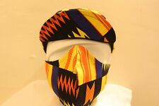CYCLING CAP KENTE PRINT  W/ FACE MASK  100 % HANDMADE IN USA L M S