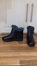 size 3 (36) just bought V stylish black wedge ankle boots with faux fur lining
