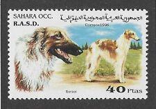 Dog Art Head Body Postage Stamp Borzoi Russian Wolfhound Spanish Sahara 1996 Mnh