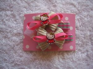 BNWT Girl's Hello Kitty Pink, White, Silver & Green Bow Hairclips
