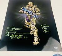 Steve Downes signed METALLIC 16X20 photo Master Chief XBOX HALO BAS M62196