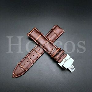 22MM LEATHER WATCH BAND STRAP FOR BULOVA ACCUTRON WATCH BUCKLE CLASP BROWN