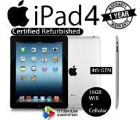 Apple iPad 4th Generation 16GB, Wi-Fi + Cellular (Unlocked), 9.7in - Black