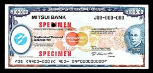SPECIMEN Traveler Check JAPAN Mitsui Bank ¥100000 Thomas Cook MC c1984 PpdUSA