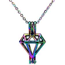 C486 Rainbow Color Diamond Locket Pendant Pearl Beads Cage Pendant Necklace