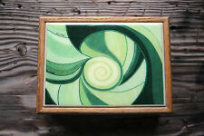 Vintage Helen Webber Tile Wooden Box 1970s Green Hued Retro Artisan Crafted RARE