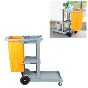 Commercial Cleaning Cart, Janitorial Cart Cleaning Trolley Housekeeping Cart