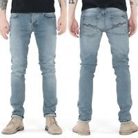 Nudie Herren Slim Fit Stretch Jeans Hose - Grim Tim Navy Crisp - W28 L32