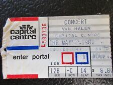 Van Halen concert ticket stub 1980 Washington D.C Capital Centre