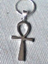STERLING SILVER 15mm.MENS HOOP EARRING with a 30mm ANKH CROSS PENDANT £13.50 NWT