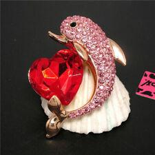 Heart Dolphin Charm Brooch Pin Gift New Betsey Johnson Pink Cute Rhinestone