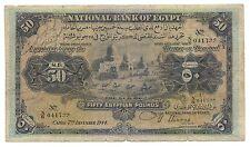 Egypt Egyptian Banknote 50 Pounds 1944 p-15c Nixon Fine Original Rare Money Old