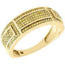 Yellow Diamond Wedding Band Men's 10K Gold Round Pave Engagement Ring 0.40 Tcw.