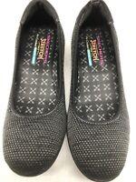 Skechers Stretch Fit Women's Memory Foam Shoes Slip On Black/Gray Fabric Size 11