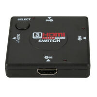 AU_ KM_ FT- 3 Port HDMI 1080P Splitter Switch Selector Switcher Hub for HDTV PS3