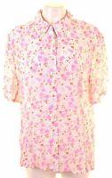 LODENFREY Womens Shirt Short Sleeve Size 20 2XL White Floral Vintage FW13