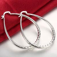 925 sterling silver filled big oval  hoop ladies dangle antique style earrings