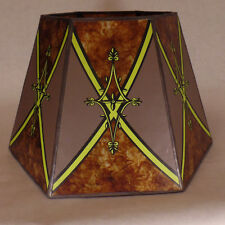 """7""""x12""""x7 1/2"""" Decorated Antique Amber Hexagon Style Mica UNO Floor Lamp Shade"""