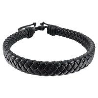 Mens Womens Leather Bracelet Bangle Cuff Rope Black Surfer Wrap Adjustable NEW