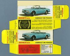 DINKY TOYS 1423 : PEUGEOT 504 CABRIOLET box repro boite refabrication copie