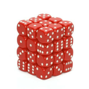 Chessex Opaque 12mm d6 Red w/White Dice Block 36 Dice. Huge Saving
