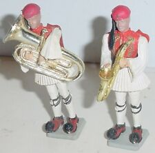 Old AOHNA Greece 70mm Plastic, 2 Greek Evzone Royal Guards Musicians, c.1960s