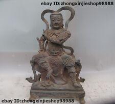 China Old Purple Bronze Wei Tuo Veda Bodhisattva Door God warrior Statue