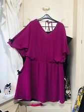 -SIMPLY BE- PURPLE ANGEL ARM CAPE AFFECT SKATER DRESS Size 16/18 BNWT £50