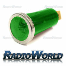 Verde Iluminada Luz de advertencia lámpara indicadora coche DASH 12v Bisel Cromado