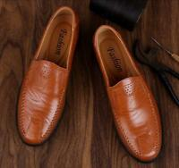 US 5-13 Mens Leather Slip On Loafers Hand-made Casual Shoes Moccasin-gommino New