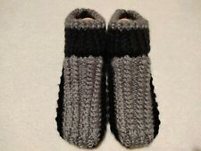 [SALE!] Hand Knitted Grey Dark Acrylic Unisex Slippers HandMade Indoor Shoes
