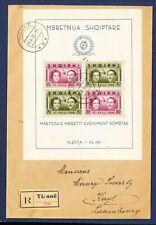 Albania - #289 Vf S/S on Registered cover - King Zog I wedding - 1938
