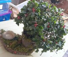 Christmas Holly Bush Log Shelf Window Decoration Candle holder (4 available)