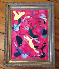 Vintage Mid Century Modern Atomic Era Cats Kitties Jumping Framed Painting 17x21