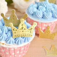50X Gold Crown Cupcake Toppers Wedding Party Picks Food Pick Party Decor