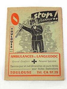 Objet publicitaire Sociétés Ambulances, voitures, vélos de Toulouse. Vers 1950