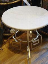 LIQUIDATION! RARE GILT PAIR ART NOUVEAU ROUND LAVENDER GRAY WHITE MARBLE TABLES