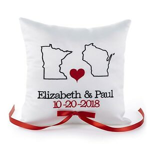 State Of Love PERSONALIZED Wedding Ring Bearer Pillow