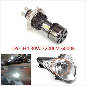 1PCS Motorcycle H4 30W ALED Headlight Hi/Lo Beam Fog Light Lamp Bulb White 6000K