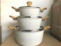 Induction Non Stick cooking pots Cream Colour