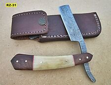 RZ-31, Custom Handmade Damascus Steel Straight Razor  - Beautiful Handle